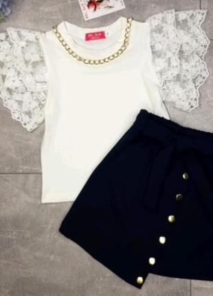 🔥шикарный школьный костюм для девочки  блуза и юбка