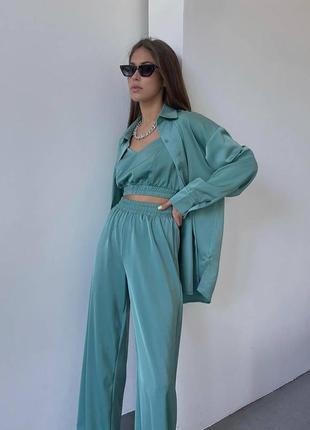 Костюм тройка широкие брюки + топ + рубашка