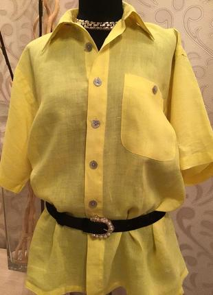 Обалденная итальянская льняная блуза/рубашка батал лён натуральный.