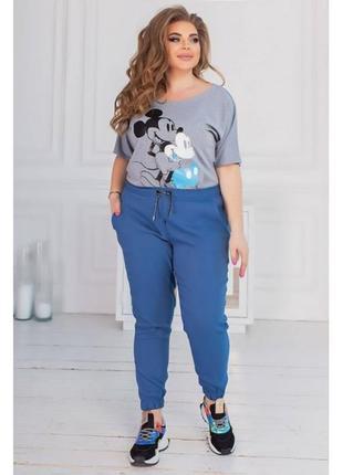 Спортивные брюки на манжете - джинсового цвета