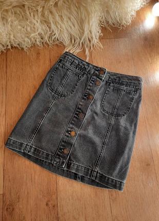 Юбка на пуговицах 46 р джинсовая