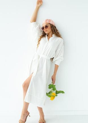 Бавовняна сукня-сорочка на гудзиках під пояс, з розрізами по боках / хлопковое платье рубашка на пуговицах под пояс с разрезами по бокам