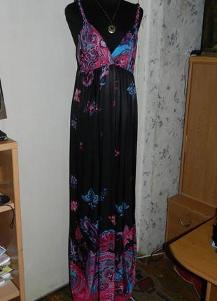 Трикотажное стрейч сарафан-платье, цветочный принт, бохо