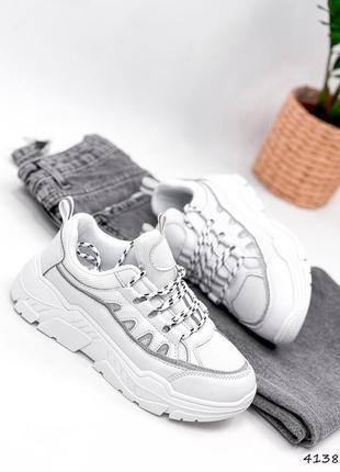 Кроссовки женские serrat белые, натуральная кожа + текстиль