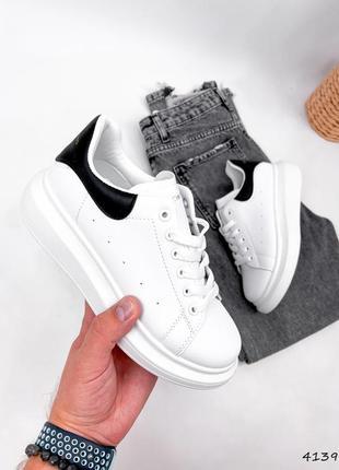 Кроссовки женские nevin белые + черные, эко-кожа