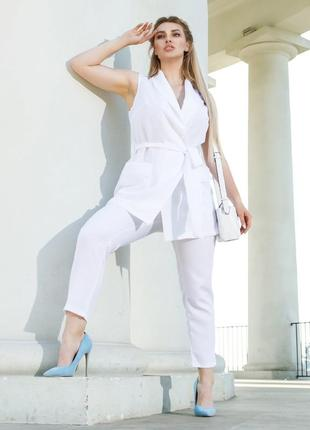 Белый брючный костюм, костюм двойка