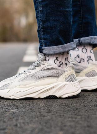 Шикарные кроссовки унисекс adidas yeezy boost 700 v2 static наложка