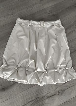 Летняя короткая серебристая юбка by groth