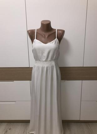 Классное белое платье базовое миди сарафан с разрезами