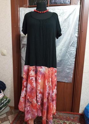 Платье,батал,комби,6xl, б/у,ц.175 гр