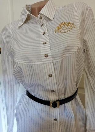 ✅винтажная удлинённая полосатая рубашка с золотой вышивкой, хлопок