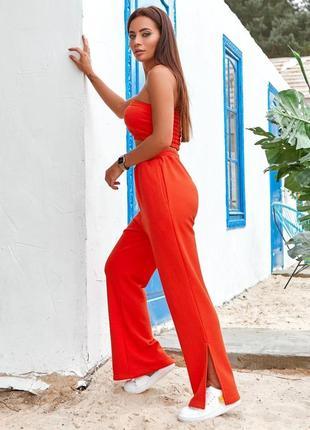 Спортивный женский костюм двойка (топ - бандо и брюки), цвет - оранжевый