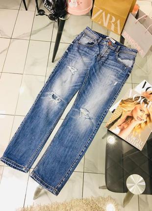Оригинальные идеальные потертые джинсы от zara basic z1975 denim  1+1=3 на всё 🎁