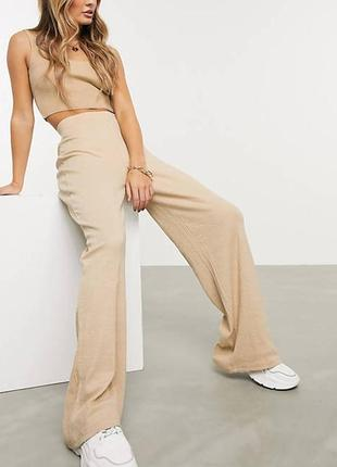 Широкие штаны палаццо в рубчик wide leg  клеш высокая посадка prettylittlething
