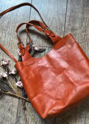 Италиянская кожаная сумка l artigiano-шоппер,рыжая