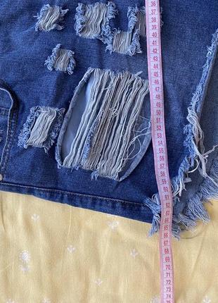 Короткие джинсовые шорты с рваностями дырками батал10 фото