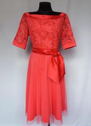 Суперцена. элегантное платье коралл, кружево и евросетка. новое, р-ры 46-52