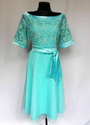 Суперцена. элегантное платье бирюза, кружево и евросетка. новое, р-ры 46-52