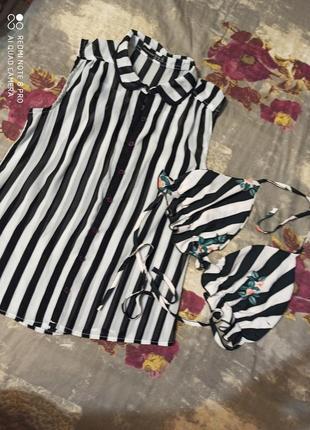 Фирменная черно белая в полоску рубашка блузка топ
