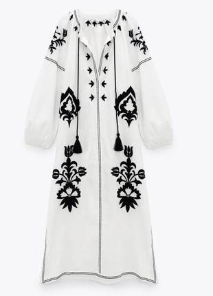 Платье миди zara с вышивкой