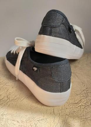 Rocket dog оригинал. кеды на платформе. джинсовые кеды. темно-серый с серебром, белый.5 фото