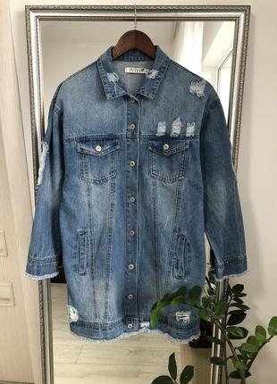 Удлиненный джинсовый пиджак