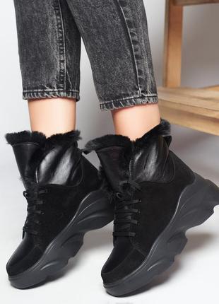 Акция зимние ботинки замша кожа черные р38,40 хайтопы сапоги кеды черевики хайтопи чоботи кеди чорні