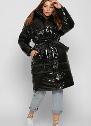 Лаковий пуховик оверсайз куртка зима