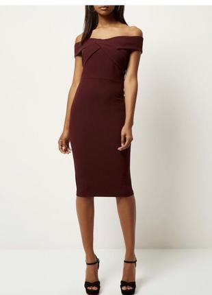 River island платье бордо бордовое марсала бургунди винное миди с открытыми плечами