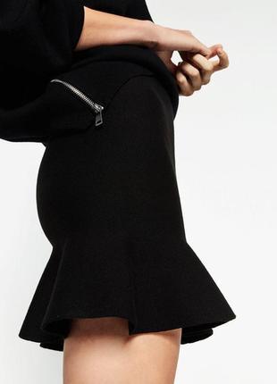 Cache cache юбка оригинал трапеция с рюшами под замшу замшевая кожаная стильная