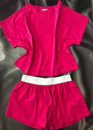 Розовая яркая пижама на широкой резинке хлопок малиновая
