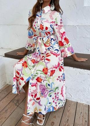 Zara h&m asos платье рубашка белая на пуговицах в цветочный принт с поясом zara