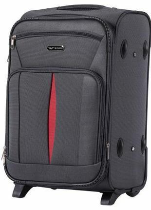Чемодан дорожный (дорожная сумка) тканевый на 2 колёсах маленький 1601 s wings ( серый / dark grey )