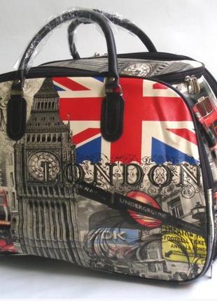 Дорожная сумка на колесах с выдвижной ручкой из кожзама london