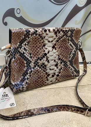 Клатч кожаная сумка под змею сумка под питона итальянская сумка принт змея
