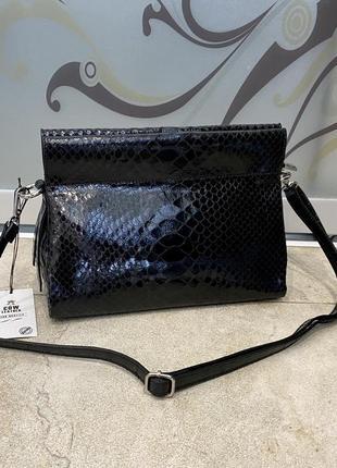 Кожаная сумка клатч лаковая сумка сумка под рептилию сумка питон италия