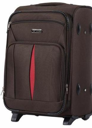 Чемодан дорожный (дорожная сумка) тканевый на 2 колёсах маленький 1601 s wings ( коричневый/coffee )
