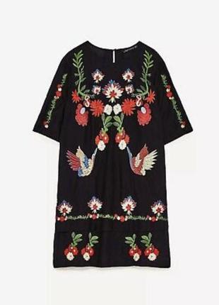 Zara летнее хлопковое платье с вышивкой