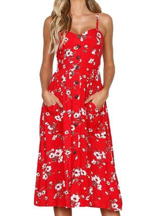 Красный модный сарафан в цветок
