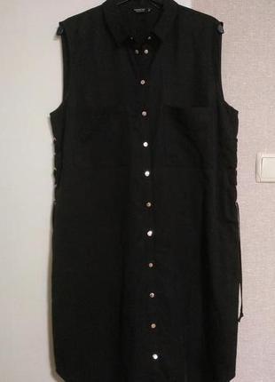 Reserved черное платье рубашка миди со шнуровкой по бокам 100% лиоцелл