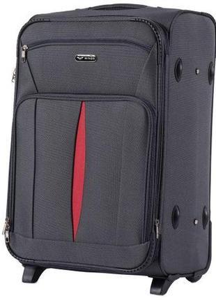 Чемодан дорожный (дорожная сумка) тканевый на 2 колёсах средний 1601 m wings ( серый / dark grey )