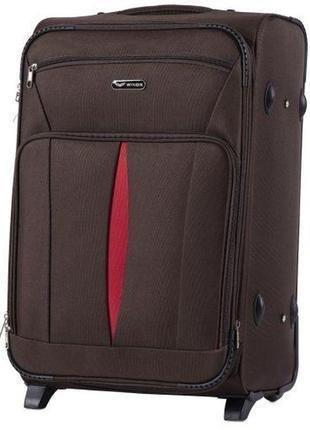 Чемодан дорожный (дорожная сумка) тканевый на 2 колёсах средний 1601 m wings ( коричневый / coffee )