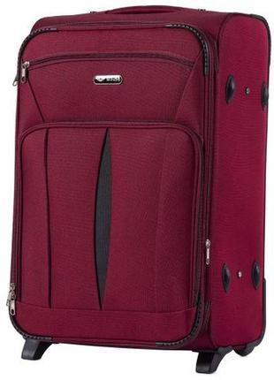 Чемодан дорожный (дорожная сумка) тканевый на 2 колёсах средний 1601 m wings ( бордовый / red )
