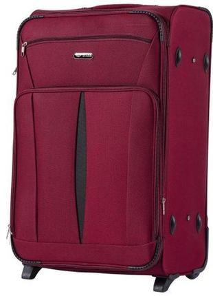 Чемодан дорожный (дорожная сумка) тканевый на 2 колёсах большой 1601 l wings ( бордовый / red )