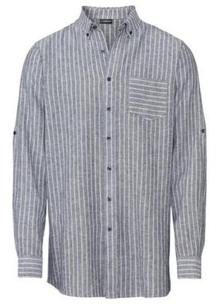 Мужская льняная рубашка в полоску с длинным рукавом