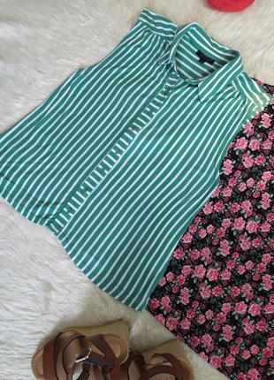 Трикотажная рубашка без рукавов в полоску размер s бренда topshop