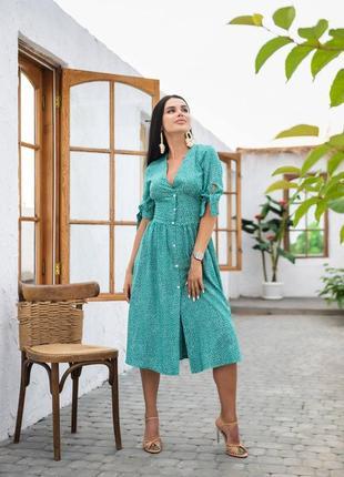 Легкое платье миди с имитацией застёжек
