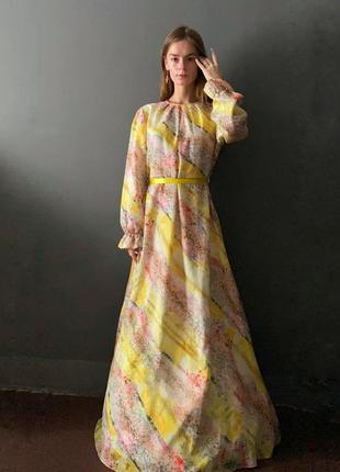 Нарядное/концертное платье для торжеств макси в пол рукава-фонарики  на резинке воланы  принт