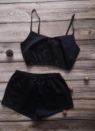 Черный топ и шортики, хлопковая черная пижама, сатинова піжамка