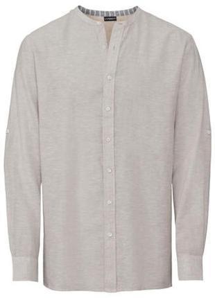 Мужская льняная рубашка без воротника